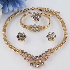 18k Gold Plated Crystal Diamante Necklace/Bracelet/Earring/Ring Jewellery Set