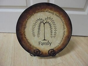 """Adorable 11"""" Decorative Ceramic  Family Plate With 11"""" Wrought Iron Stand"""