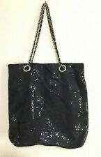 Black sequined tote/purse with interwoven chain strap