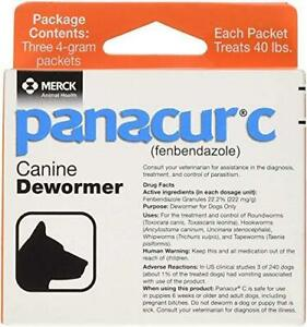 Panacur C Canine Dewormer Dogs 4 Gram Each Packet Treats 40 lbs (3 Packets), Red