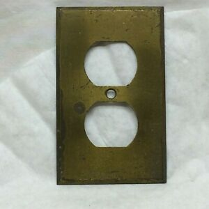 Vintage Electrical Plug Outlet Plate Cover Brass Metal