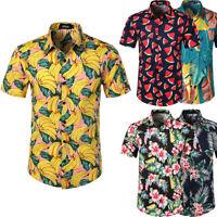 Hawaiian shirt Men fruit floral shirt aloha party holiday beach casual tropical