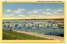 B0097 Monterey California CA Fishing Fleet at Anchor - 1941 Linen Postcard Teich