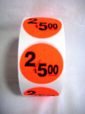 """1000 Round Bright Red 2/5.00 Price Point Retail Labels 1.5"""" Stickers"""