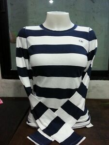 Gilly Hicks Navy Grey Pink White Stripe Long Sleeve T-Shirt Tee XS S M L New