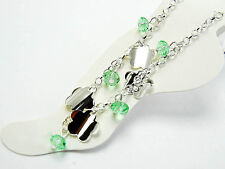 """Flower Anklet Body Jewelry 11"""" Silver Green Crystal"""