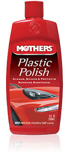 Mothers Plastic Polish. Cleans, Shines, Protects and Removes Scratches