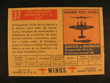 1952 Topps Wings Airplane Proof Card #37