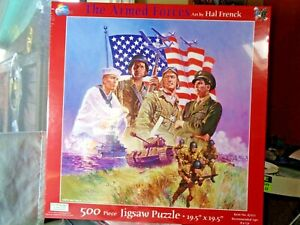 """NEW JIGSAW PUZZLE """"THE ARMED FORCES"""" 500 PIECES 19.5"""" X 19.5"""" HAL FRENCK"""
