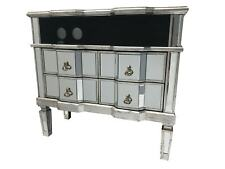 Large Widescreen Mirrored TV Media Unit 4 Drawer Cabinet Vintage Venetian Glass