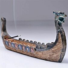 Incense Burner Carved Dragon Boat Stick Holder Censer Traditional Retro Ornament