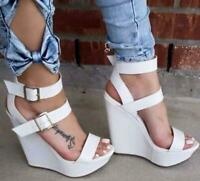 Hot Womens Europe White Wedge Heel Open Toe Buckle Party Punk High Sandals Shoes