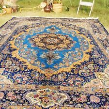 Yilong 9'x12' Large Silk Area Rugs Medallion Blue Carpet House Hand Knotted 414A