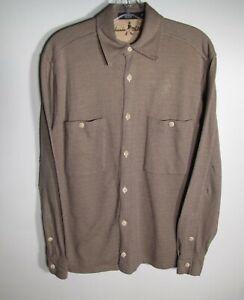 Johnnie Walker Brown Herringbone Soft Cotton Long Sleeve Two Pocket Shirt Size M