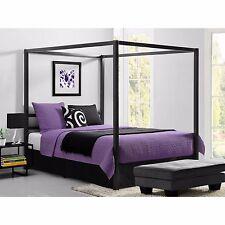 Queen Canopy Metal Bed Frame Modern Industrial Framed Headboard Platform Gray