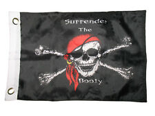 "12x18 12""x18"" Jolly Roger Pirate Surrender The Booty Boat Boating Flag Grommets"