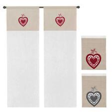 Tenda finestra porta interno coppia 2pz varie misure tessuto lino cuore ricamato