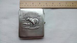 2607 RR USSR vtg Soviet silver 875 cigarette case white arctic bear on ice