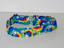 "1.5"" Small (Whippet) Martingale Dog Collar Tie Dye with Bones and Paws"