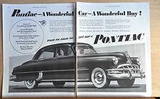 1950 two page magazine ad for Pontiac - Silver Streak V-8, A Wonderful Car