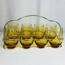 Vintage Set 8 Drinking Glasses with Carrier Gold Tumblers Kitch