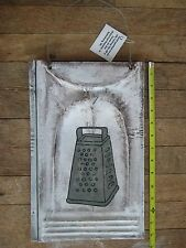 Rustic White Washed METAL GRATER Metal Roofing Tin Sign Distressed Retro Vintage