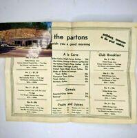 c1960s Gatlinburg, Tennessee The Parton Restaurant Table Mat, Menu +Postcard 1G