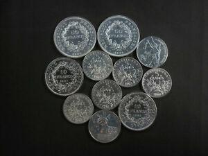 Lot de 11 pièces FRANCE en Argent - Hercule, Semeuse, 100 Francs