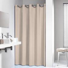Extra Long Hookless Shower Curtain 72 x 78 Inch Sealskin Coloris Beige Cotton