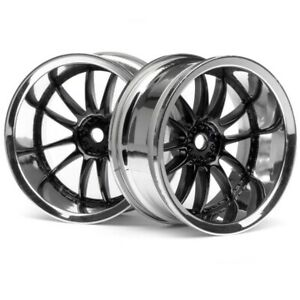 NEW HPI Sprint 2 E10 Nitro3 Work XSA 02C Wheel 26mm Chrome/Black 9mm Offset (...