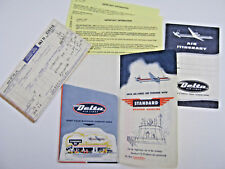 Vtg 1958 Delta Airlines Boarding Pass Ticket Itinerary, Standard Gas & Oil Litho