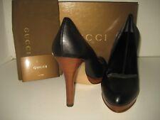 New GUCCI Womens US 10.5 EU 41 Black Leather Classics Pumps High Heels Shoes Box