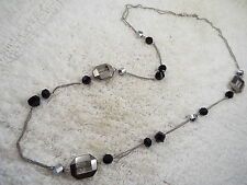 Silvertone Black & Gray Framed Glass Bead Chain Necklace (A4)