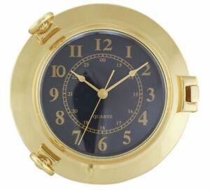 Uhr schwarz im Bullauge Ø: 22,5 cm Uhr-Ø: 14 cm Messing