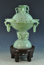 VTG Chinese Carvd Jade Incense Burner With Wood Stand