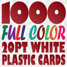 1000 Full Color Custom 20pt WHITE PLASTIC BUSINESS CARD Printing w Round Corners