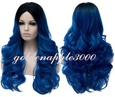 "26""65cm Long Style Big Wavy Blue Black Gradient Cosplay Costume Wig Party Wigs"