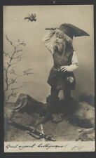 MB5695 LITTLE GNOME HUNTING IN THE WOOD WITH GUN AND KNIFE RPPC  1903