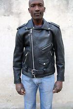 Nice London Black Leather Motorcycle Biker Moto Jacket + Pink Floyd Patch 44 L