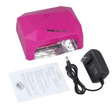 36W UV LED Nail Art Dryer Curing Auto Shutoff Timer Lamp Gel Polish + AC Adapter