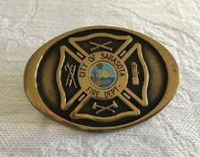 Vintage Solid Brass Belt Buckle Fire Dept. City of Sarasota FL. TBW Industries