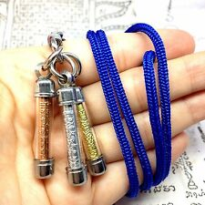 Magic Yant Takrut Gold Silver Pendant Thai Defense Amulet Power Sacred Talisman