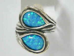 Women Fine Sterling Silver 925 Ring friendship Blue simulated opal