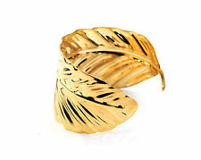Gold Leaf Shaped Bangle Bracelet Open Ended Cuff