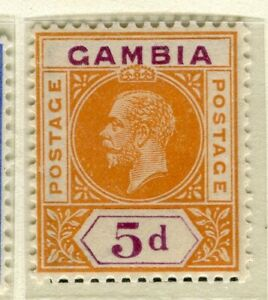 GAMBIA; 1921 early GV issue fine Mint hinged 5d. value