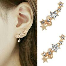 Shooting Star Earrings Crystal Ear Climber Curved Pins Hooks Crawler Stars Gold