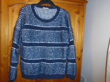 Cosy navy blue and white chunky fluffy knit long sleeve jumper TU, size 14