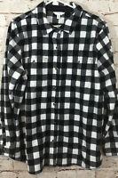 Time Tru womens 2XL fleece button shirt jacket black white plaid new XXL (20) E9