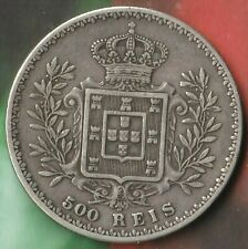 1892 Portugal 500 Reis- 91.7% Silver- Large Silver Coin with nice Eye Appeal~