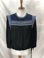 veronica beard Womens Black 3/4 Sleeve Blouse Size 2 Embroidered Shoulder Button